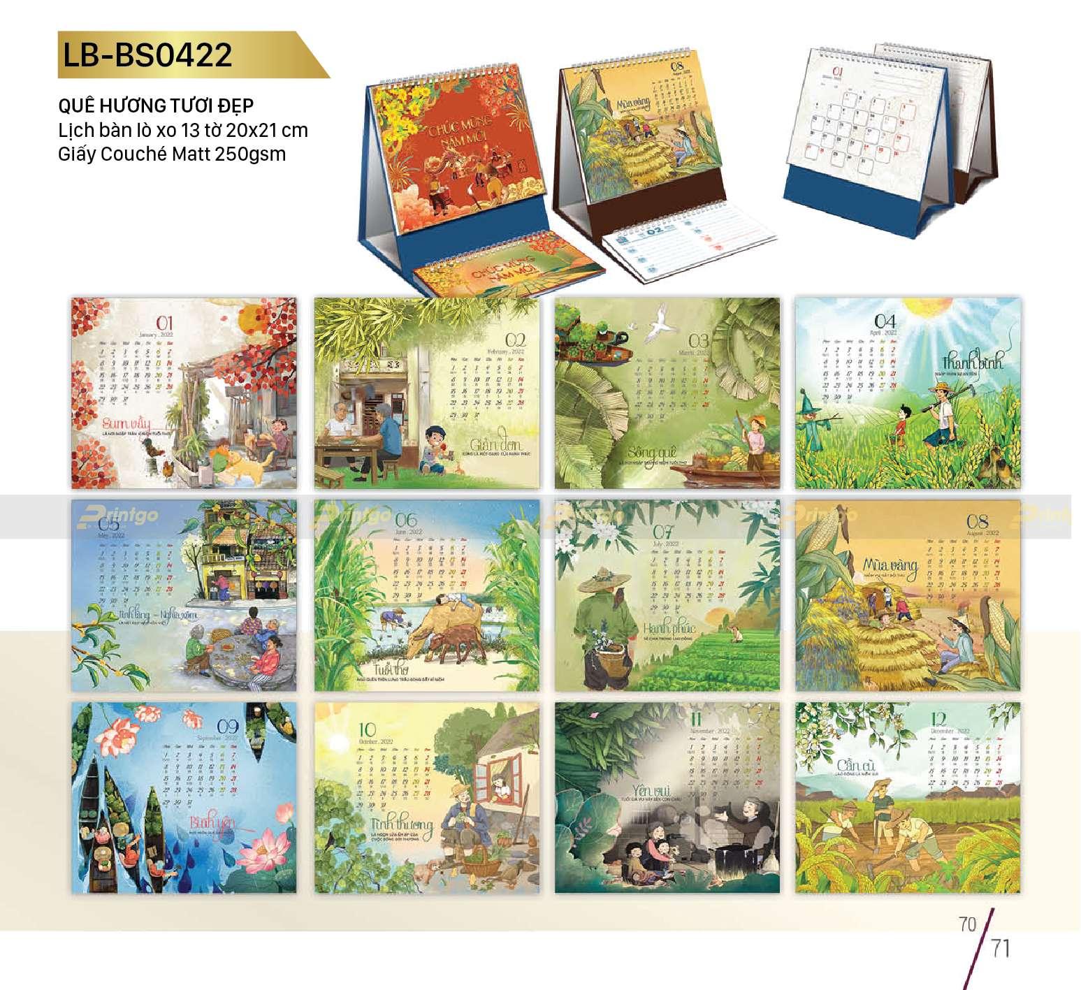 """Lịch để bàn """"Quê hương tươi đẹp"""" - LB - BS0422"""